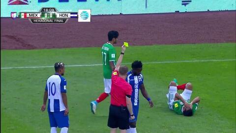 Tarjeta amarilla. El árbitro amonesta a Johnny Palacios de Honduras