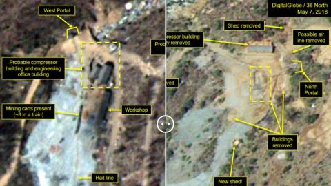 Imagen satelital que muestra instalaciones nucleares norcoreanas, antes...