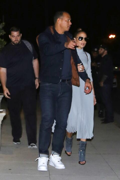 Jennifer Lopez and Alex Rodriguez are spotted leaving the recording stud...