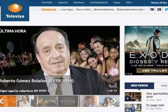 El sitio de Televisa, México.