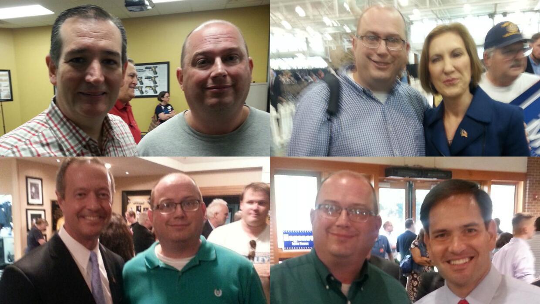 Selfies de Tim Payne con varios candidatos presidenciales