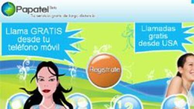 Sitio web de Papatel, que lanzó su servicio de llamadas gratuitas desde...