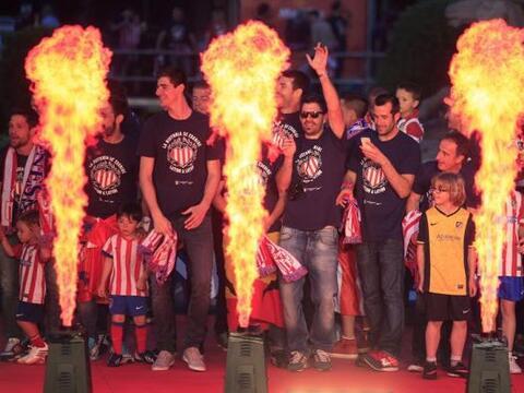 Los jugadores del Atlético de Madrid celebran en la madrile&ntild...