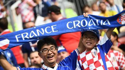 Los fanáticos del mundo vibran con la final entre Francia y Croacia en Rusia 2018