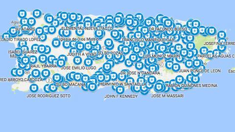 Mapa de refugios contra huracanes en Puerto Rico