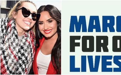 Demi Lovato y Miley Cyrus en March For Our Lives