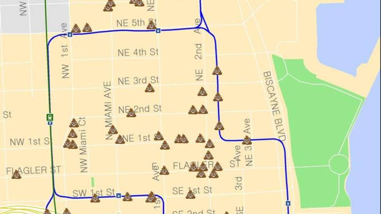 Mapa de los lugares donde los desamparados dejan sus desperdicios humanos.