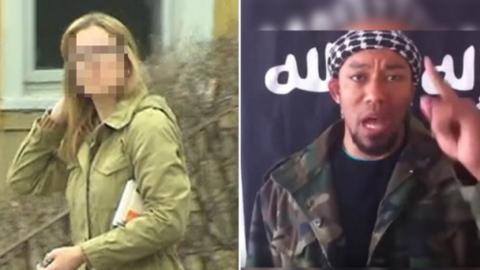 Imagen de la traductora del FBI y el terrorista de ISIS con el que se ca...