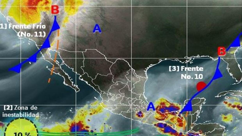 Imagen de satélite donde se observa el frente frío en el noroeste de México
