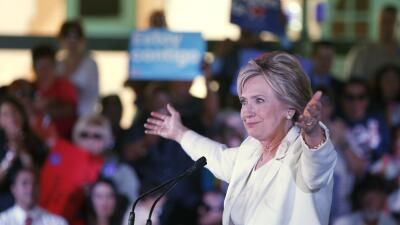 Hillary Clinton en un mitin en Texas