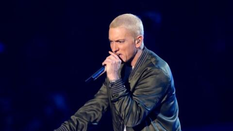 Eminem performs on stage at the Nokia Theatre during the MTV Movie Award...