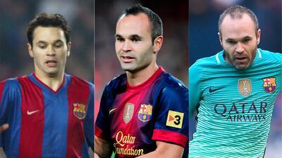 Así fue el cambio de imagen de Andrés Iniesta en 16 años como profesional en Barcelona