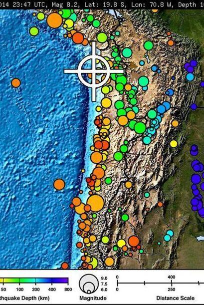 El sismo ocurrió cerca de la frontera de Chile con Perú a...