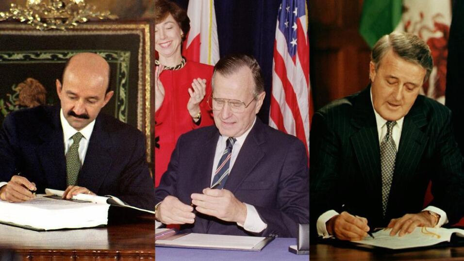 Carlos Salinas de Gortari, George Bush y Bryan Mulroney, durante la firm...