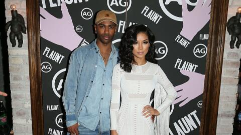 Hosts Jhene Aiko And Big Sean pose for a photo Flaunt Magazine And AG Ce...