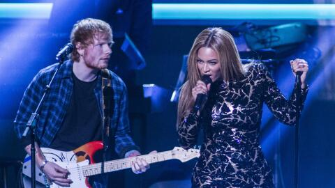 Beyonce and Ed Sheeran perform onstage during the concert, Stevie Wonder...