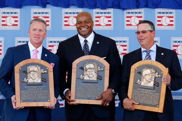 Tom Glavine, Frank Thomas y Greg Maddux.