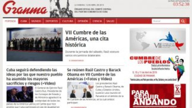 La portada de la web de Granma de este domingo.