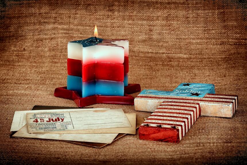 vela 4 de julio - azul blanca y roja