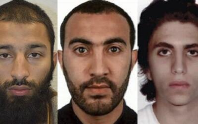 Los tres sospechosos de los ataques, de izquierda a derecha: Khuram Sha...