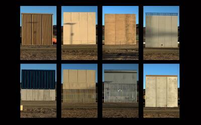Los ocho modelos del muro fronterizo ya edificados en San Diego, Califor...