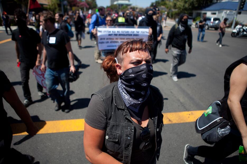 Las manifestaciones en Anaheim duraron varios días. Esta foto fue captad...