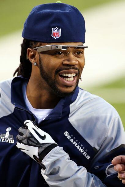 El receptor Sidney Rice de los Seahawks, grabando los pormenores del Sup...
