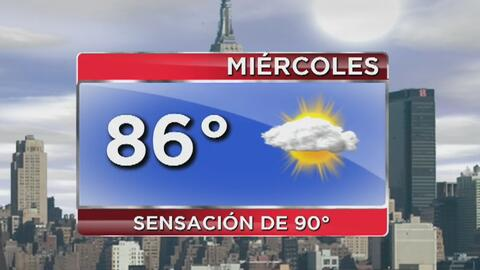 Miércoles parcialmente soleado en Nueva York y con probabilidad de lluvi...