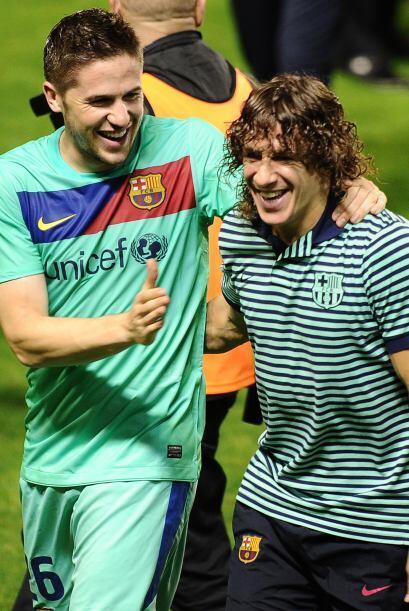 Fontas celebraba a la par de Carles Puyol. Se dice que Fontas podría ser...