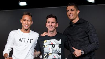 Neymar, Messi y Cristiano Ronaldo en el Balón de Oro 2015