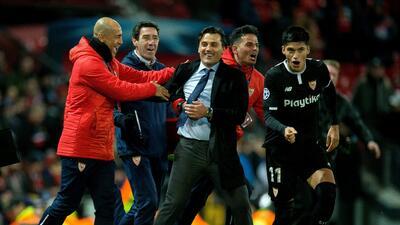 En fotos: Sevilla dio la sorpresa en Old Trafford y eliminó al United de la Champions