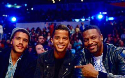 Giovani y Jonathan dos Santos con Chris Tucker, NBA All-Star Game 2018