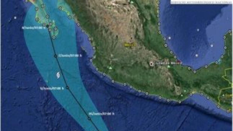 Trayectoria prevista por Conagua del huracán Blanca.
