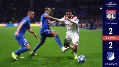 ¡Remontada!  Hoffenheim salvó un empate jugando con diez ante el Lyon