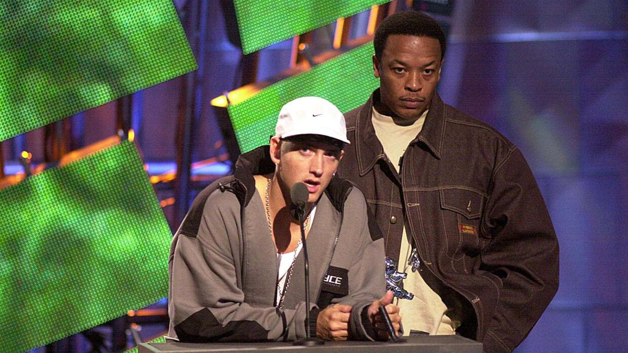 New York City - Eminem and Dr. Dre during the MTV VMA 2000 Stage. In a n...