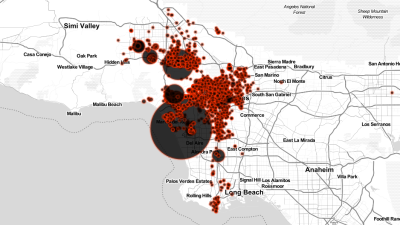 Cada punto señala un caso de desalojo por la ley Ellis en la ciudad de L...