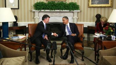 Obama y Santos en la Casa Blanca en abril de 2011