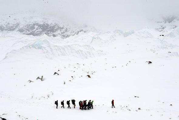 Sobrevivientes y rescatistas caminan enmedio de una inmensa capa de hielo.
