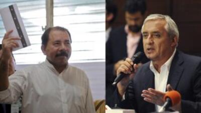Daniel Ortega, Presidente de Nicaragua, y Otto Pérez Molina, presidente...