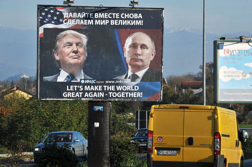 Muñecos, murales, carteles... Donald Trump y Vladimir Putin están 'junto...