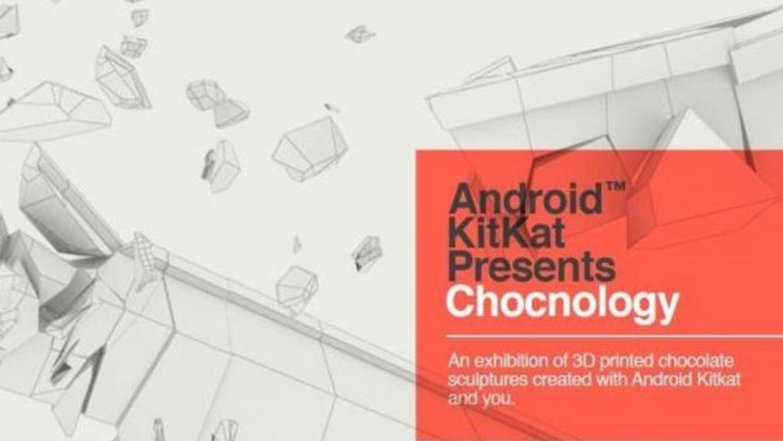 Esta es la primera exposición de chocolate impreso en 3D. Foto: KitKat
