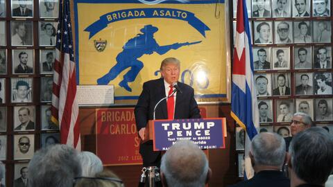 Donald Trump speaking to Cuban-American Bay of Pigs veterans in Miami on...