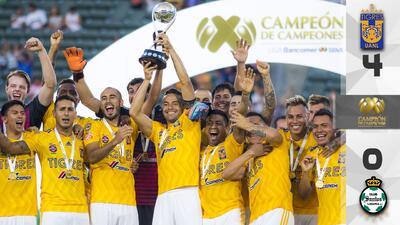Tigres masacró a Santos Laguna y se consagró como Campeón de Campeones del fútbol mexicano