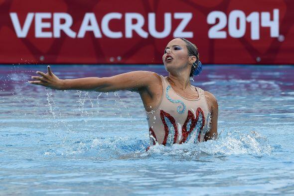 El segundo lugar del podio en la modalidad de solo libre de nado sincron...