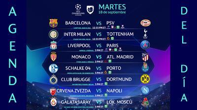 Agenda del día: Barcelona vs PSV, Inter vs Tottenham abren la fase de grupos de la Champions