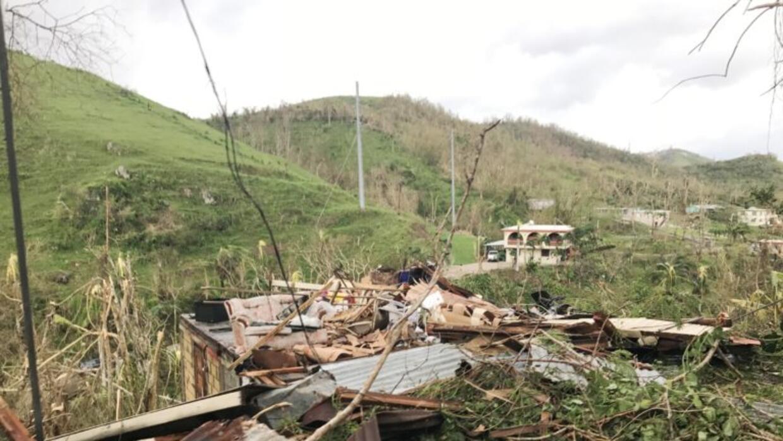Destrucción en el municipio de Cayey, Puerto Rico.
