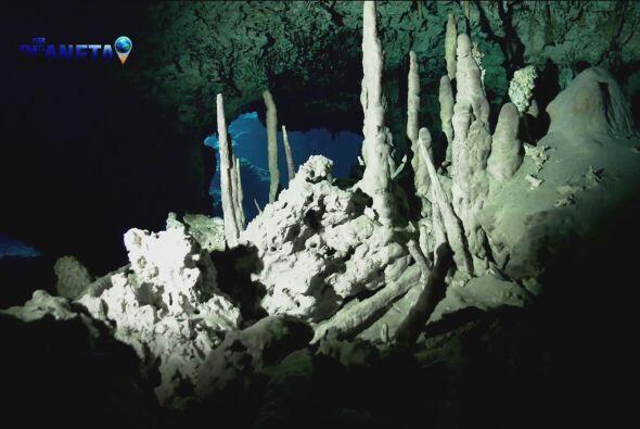 En las cavernas acuáticas se forman estalactitas y estalagmitas, caprich...