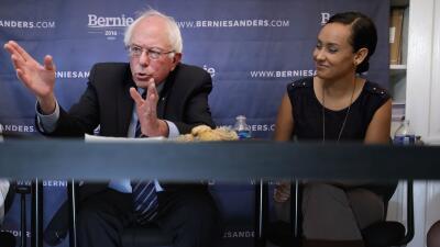 Bernie Sanders y Erika Andiola