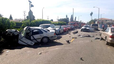 La escena del accidente en 59th Place, en Maywood.
