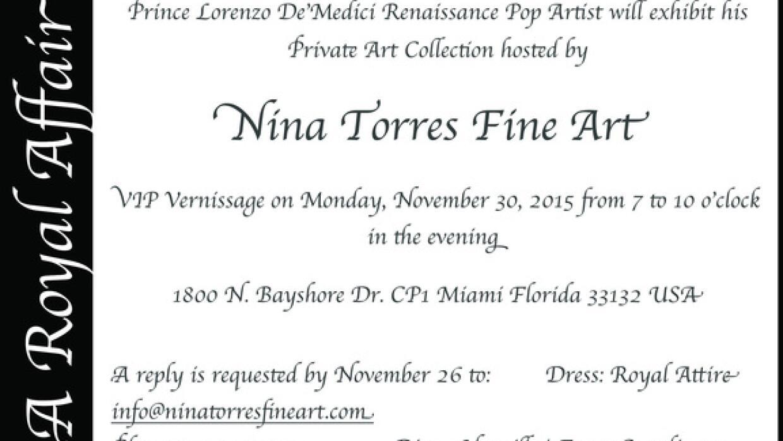 Invitación a exposición del Príncipe Lorenzo de Medici en la galería Ni...